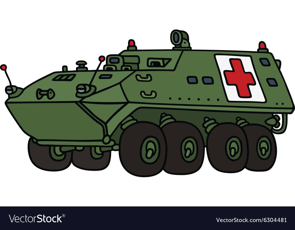 Wheeler armoured military ambulance vehicle vector image