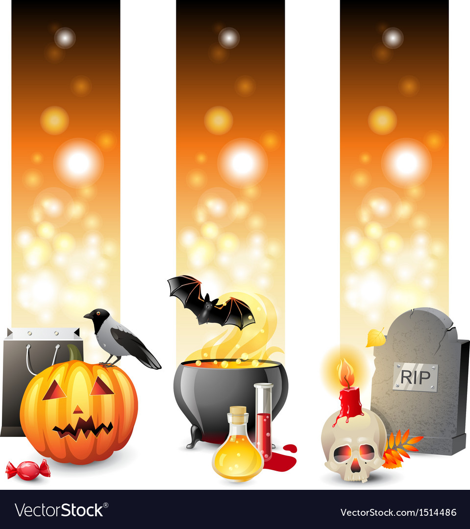 3 halloween banners