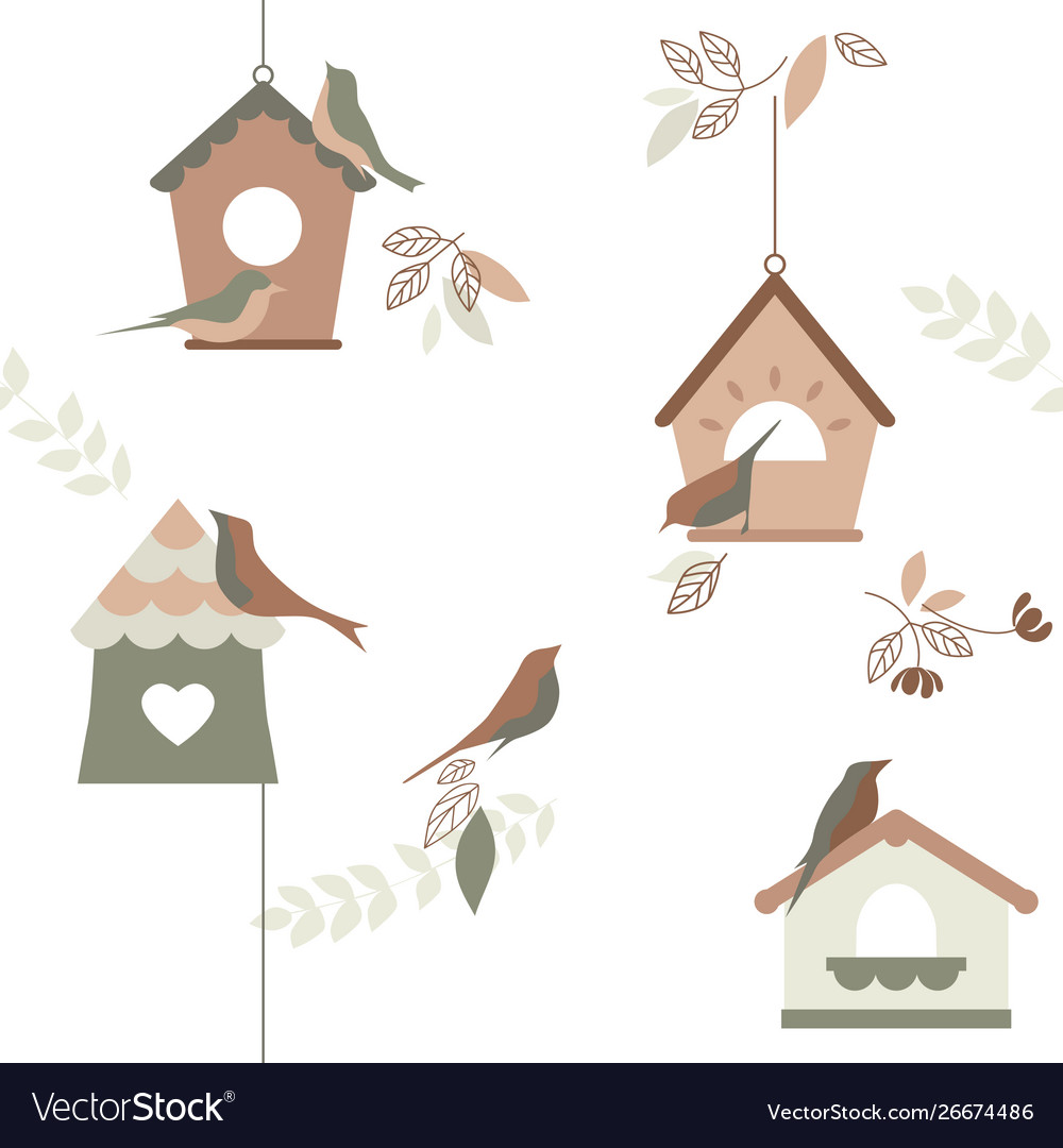 Bird breeding houses wallpaper repeating