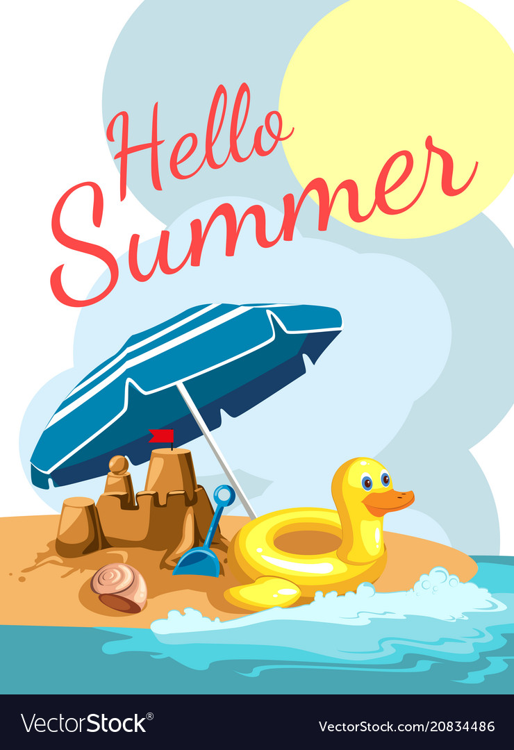 Cartoon greetings card with a beach