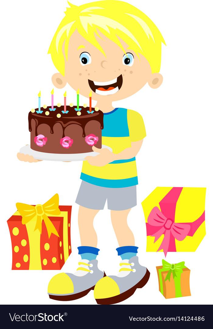 Children birthday boy with gift