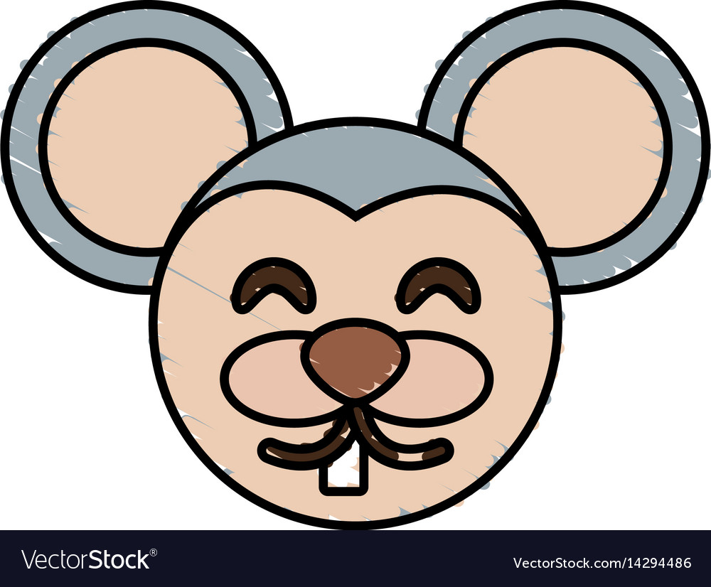 Cute mouse drawing animal vector image