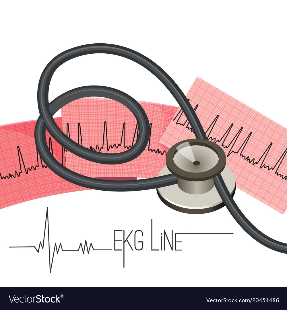 Ekg line on long paper sheet and medical vector image