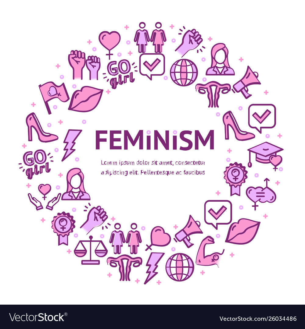 Feminism signs round design template thin line