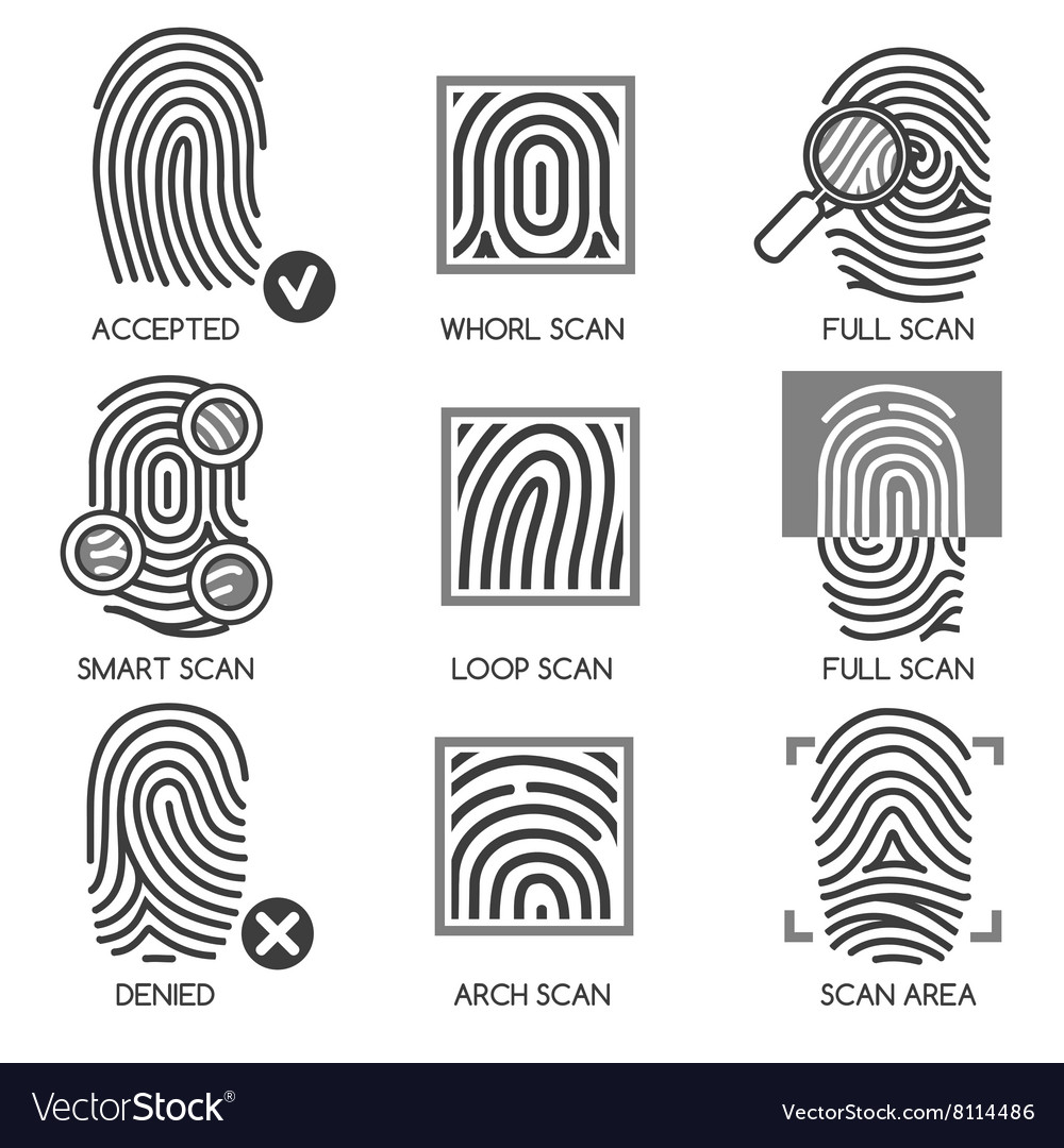 Fingerprint identification icons