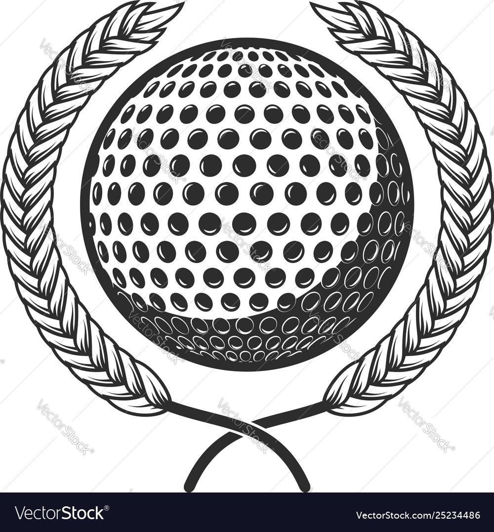Golf ball with laurel wreath design element