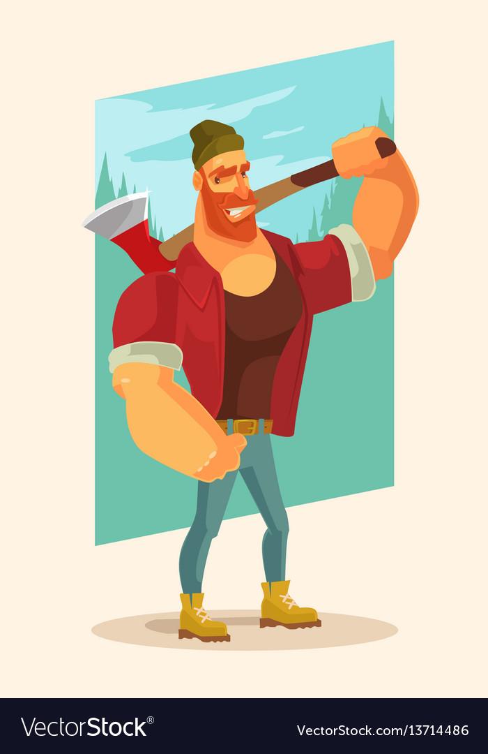 Lumberjack man mascot character hold axe