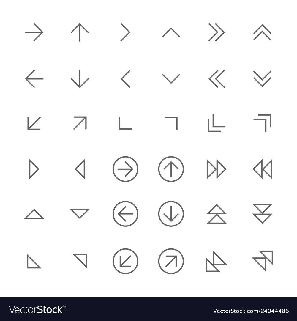 Set of simple thin arrow icons