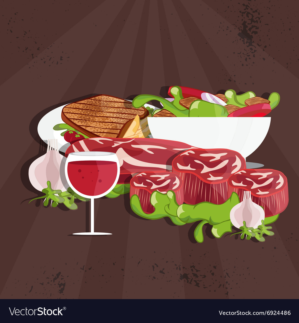 Steak house with meatwine and salad