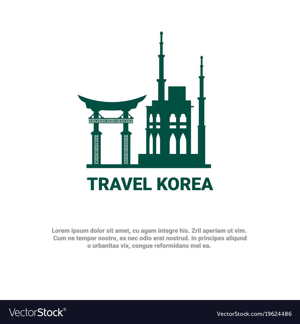 Travel to korea banner south korean landmarks icon