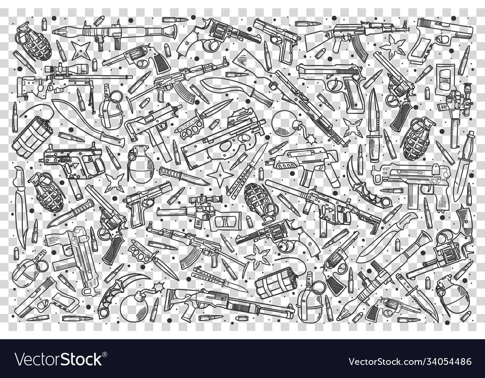 Weapons doodle set