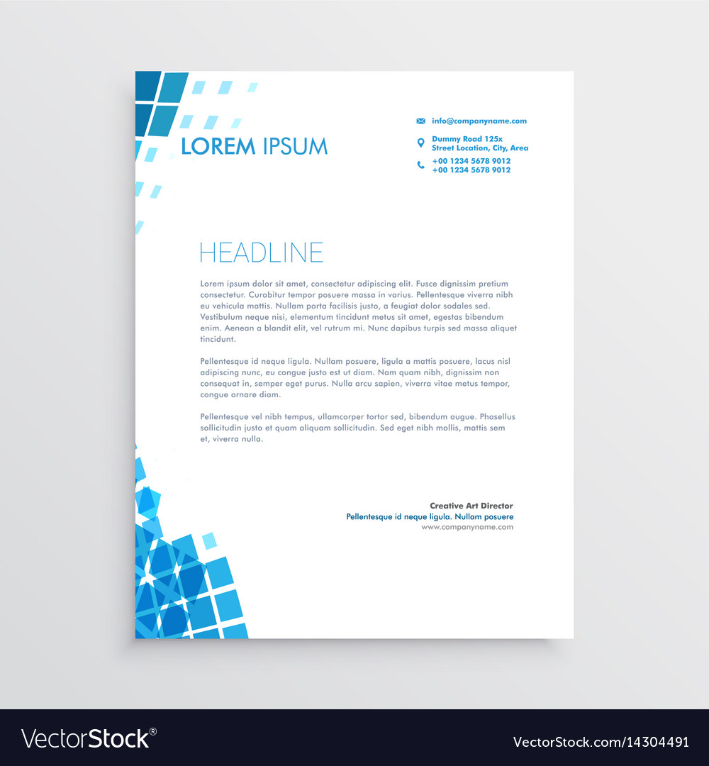 Blue mosaic abstract letterhead design vector image