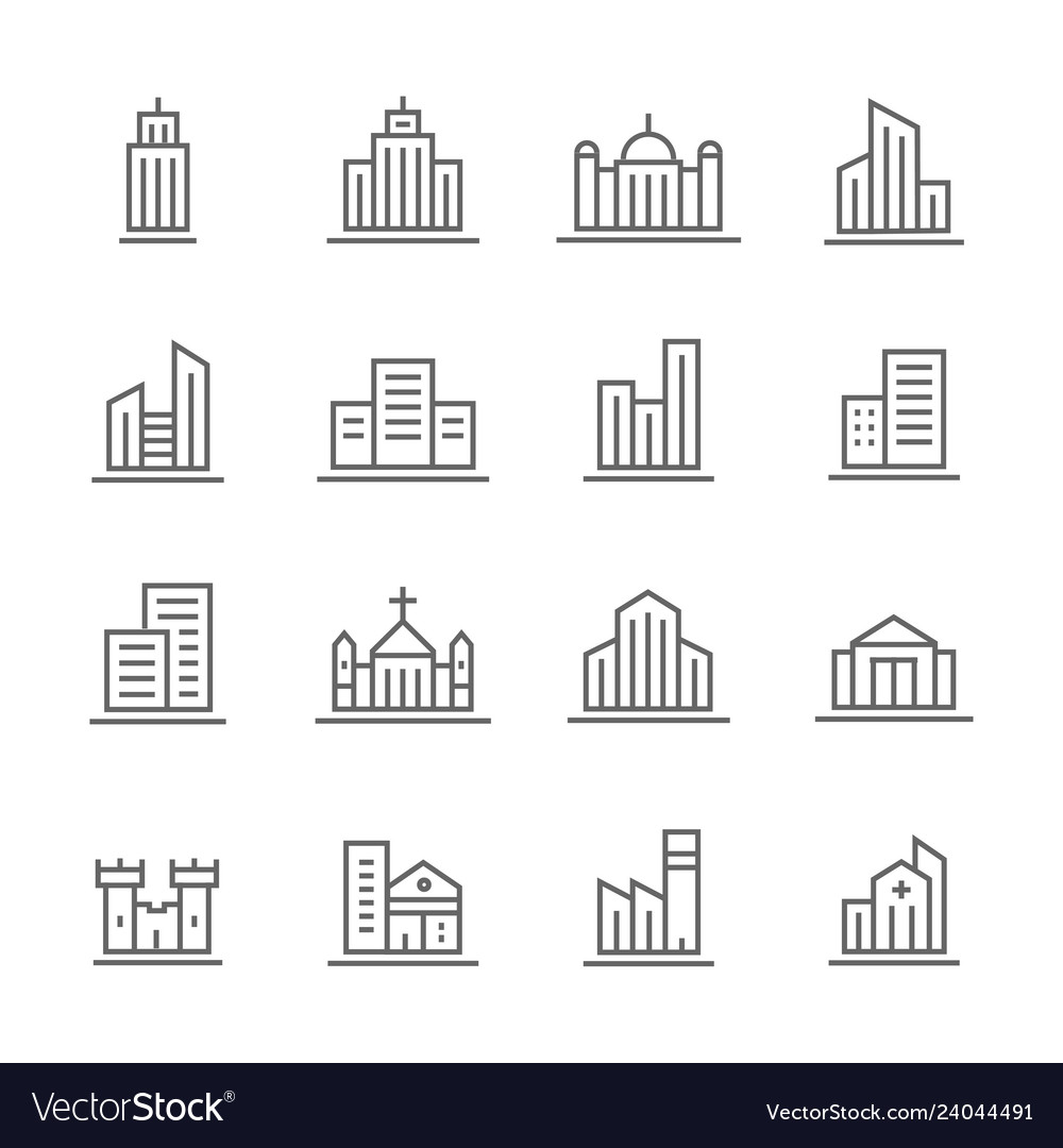 Building line icons set