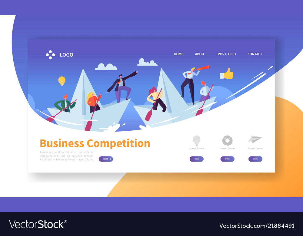Business challenge concept landing page template
