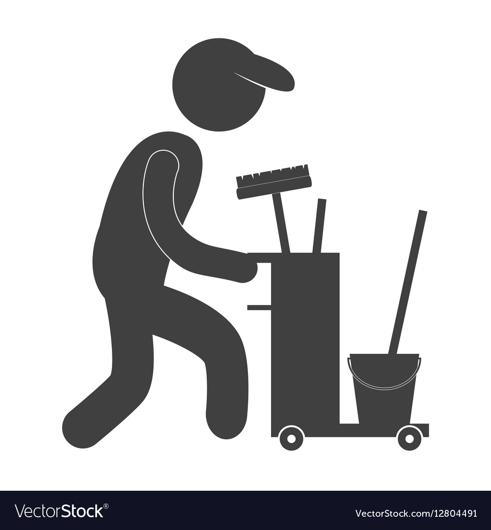 Cleaning service worker pictogram icon image vector image