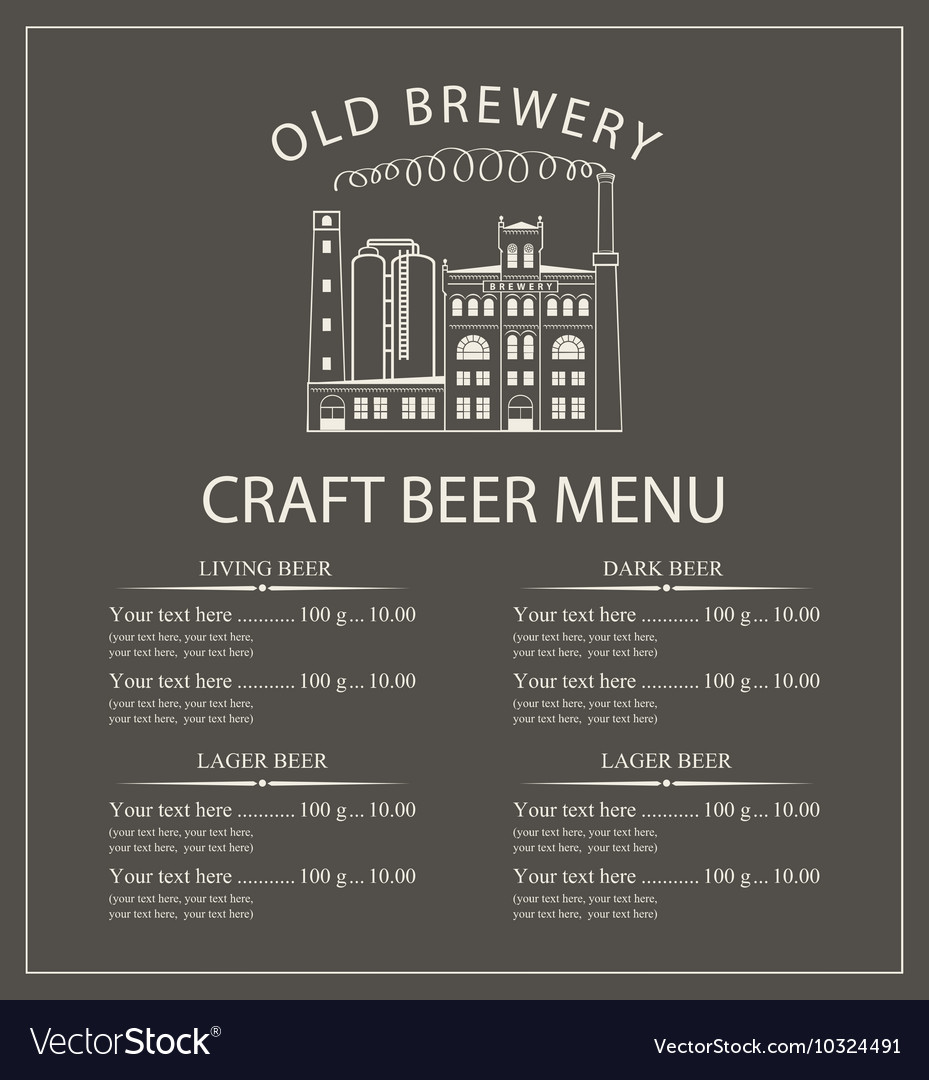 Craft Beer Menu With Brewery Building Royalty Free Vector