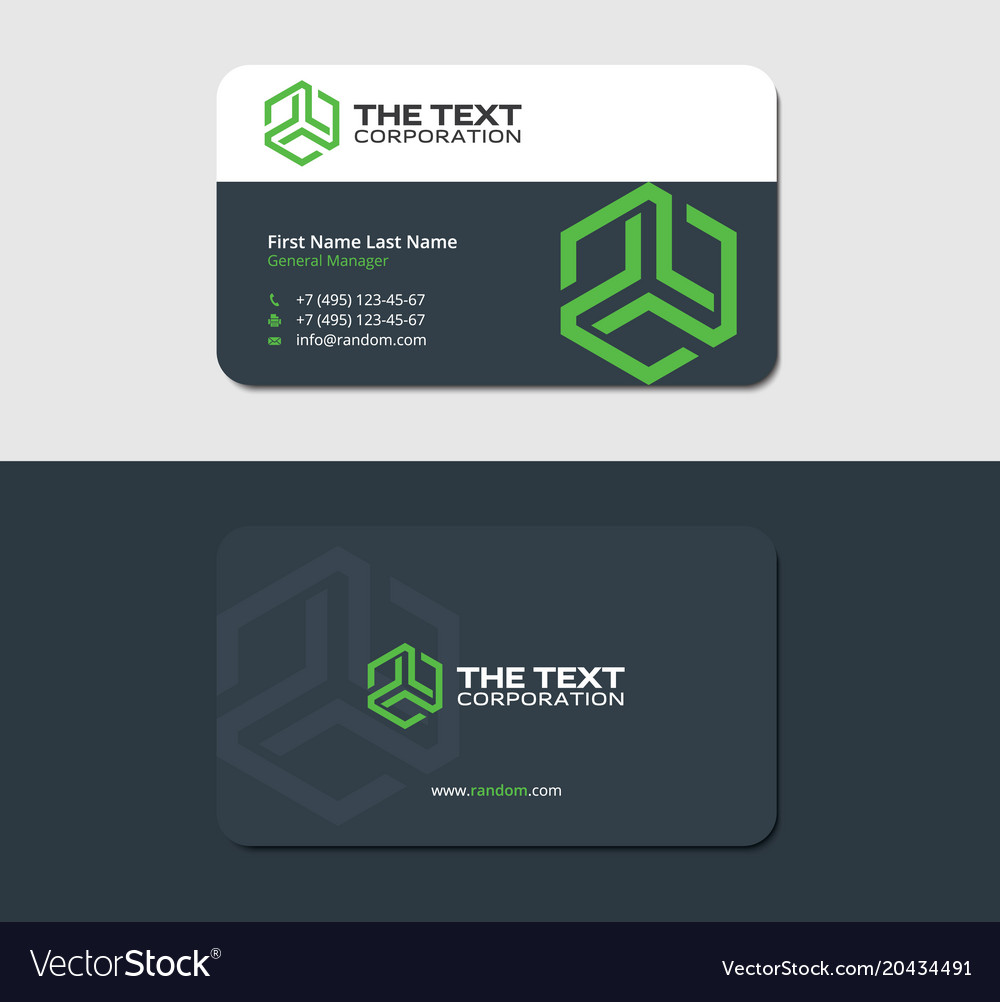 Dark business card template with green hexagon vector image friedricerecipe Images
