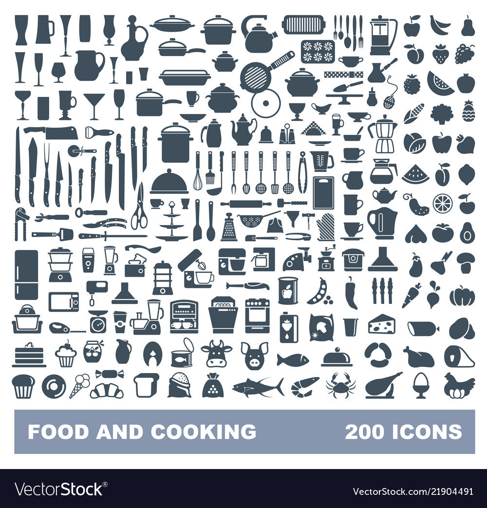 Food and cooking flat icon set