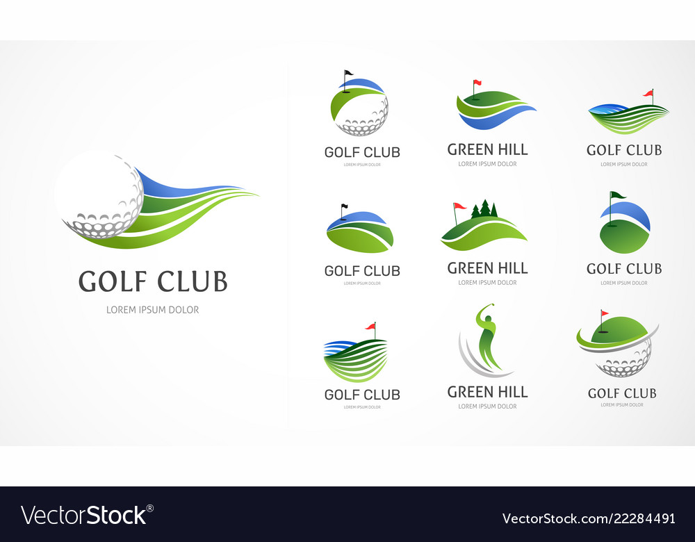 Golf club icons symbols elements and logo