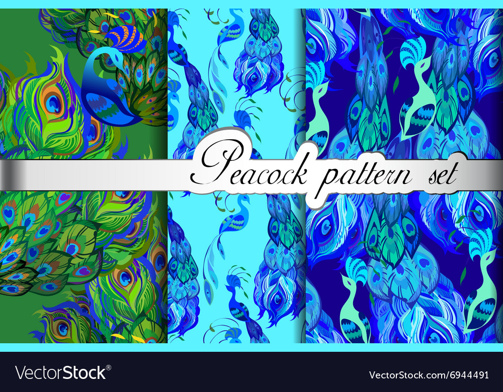 Green blue peacock feathers abstract seamless