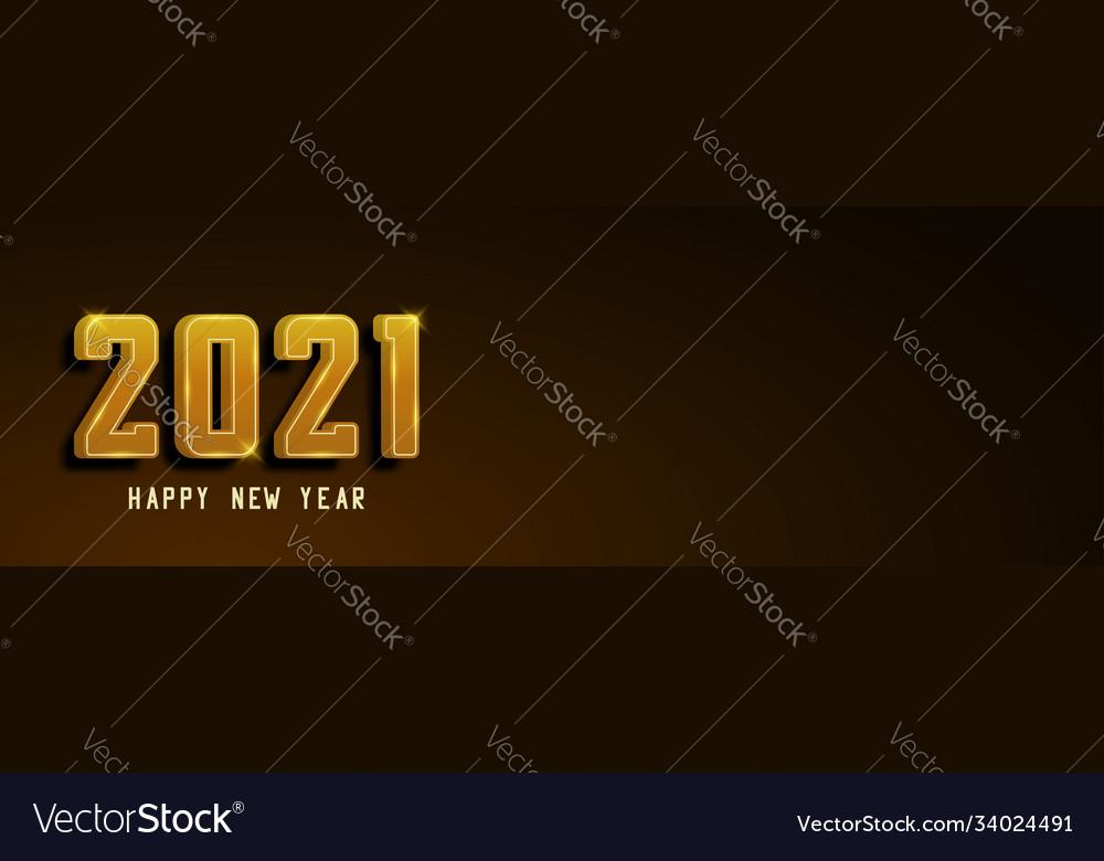 Happy new year 2021 banner golden text