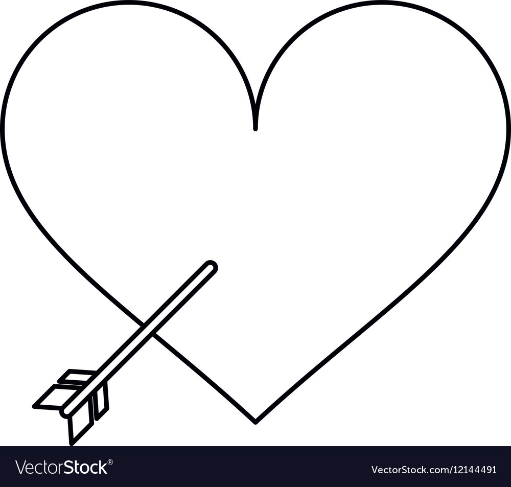 Heart with arrow love symbol outline