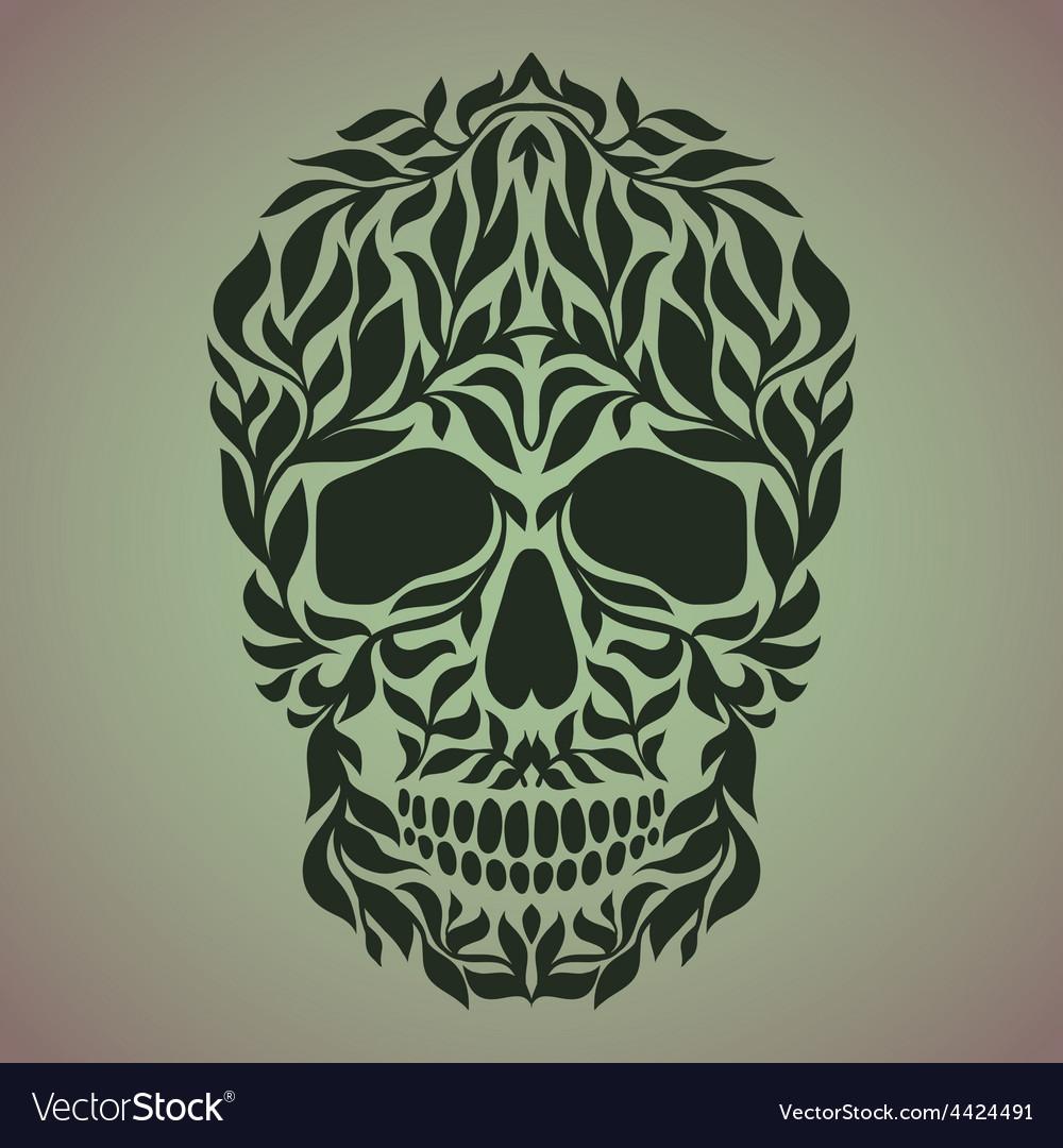 Ornamental art of a skull vector image