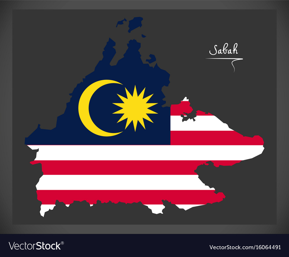Sabah malaysia map with malaysian national flag