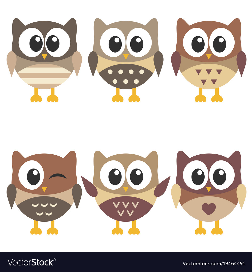 Set of cute brown owls isolated on white