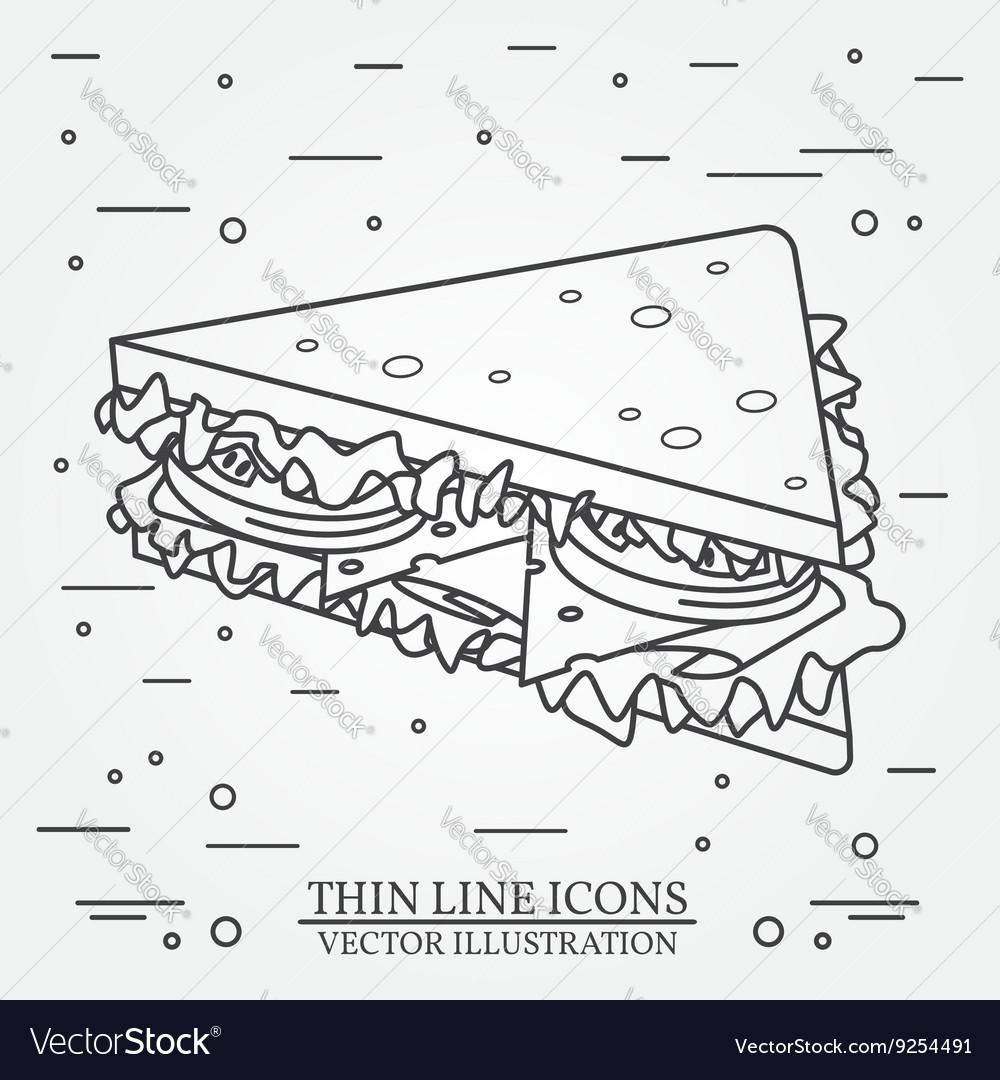 Thin line icon sandwich For web design and