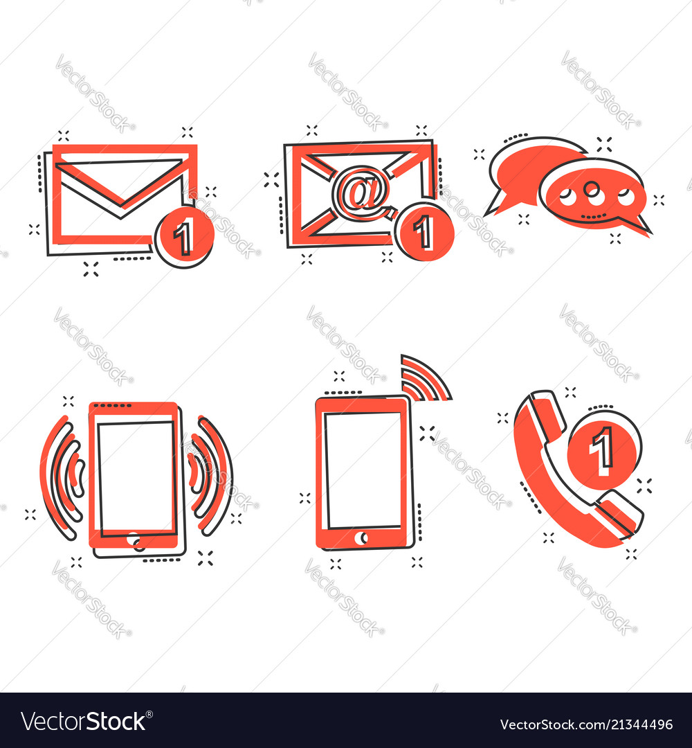 Cartoon contact buttons icon in comic style email