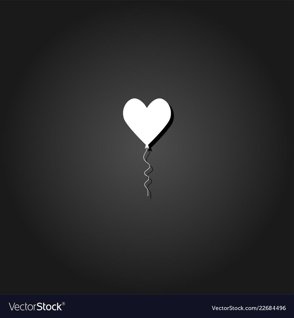 Heart balloon icon flat