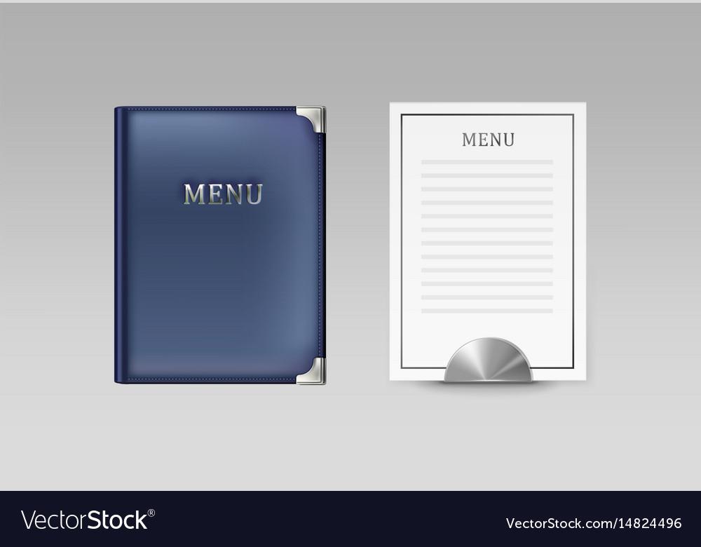 Menu book and card