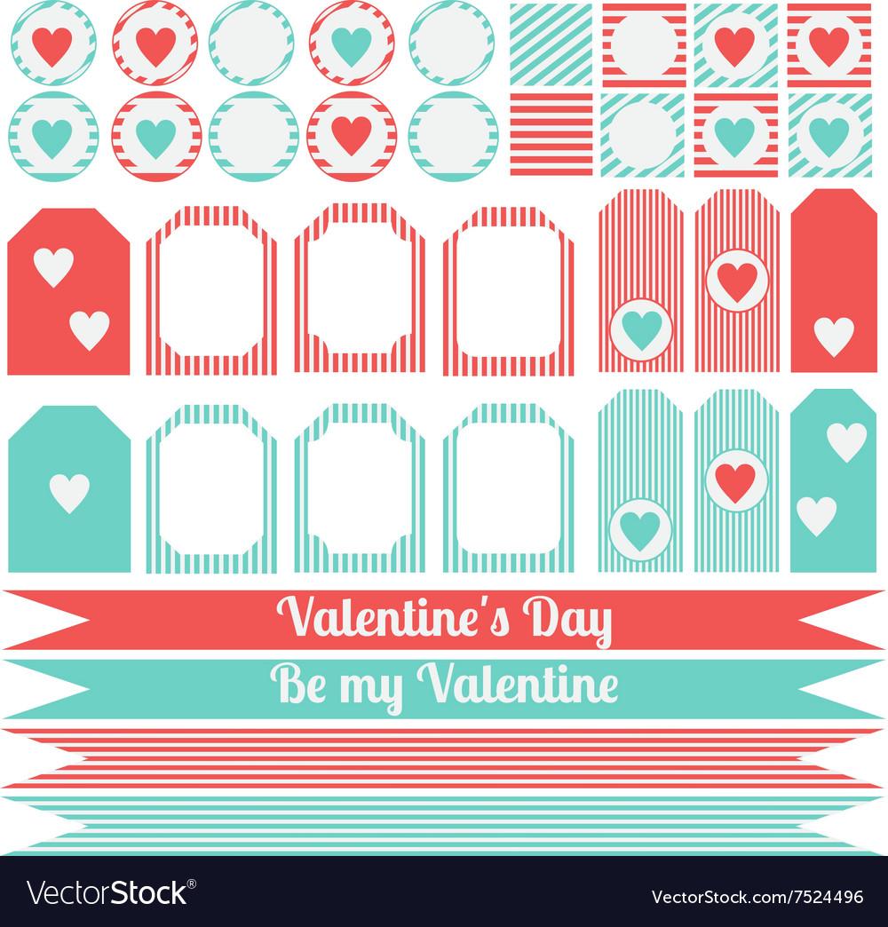 Printable set of saint valentine party elements