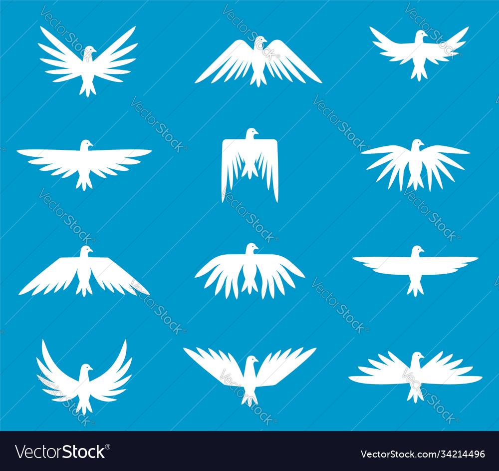 Set pigeons silhouettes white dove peace