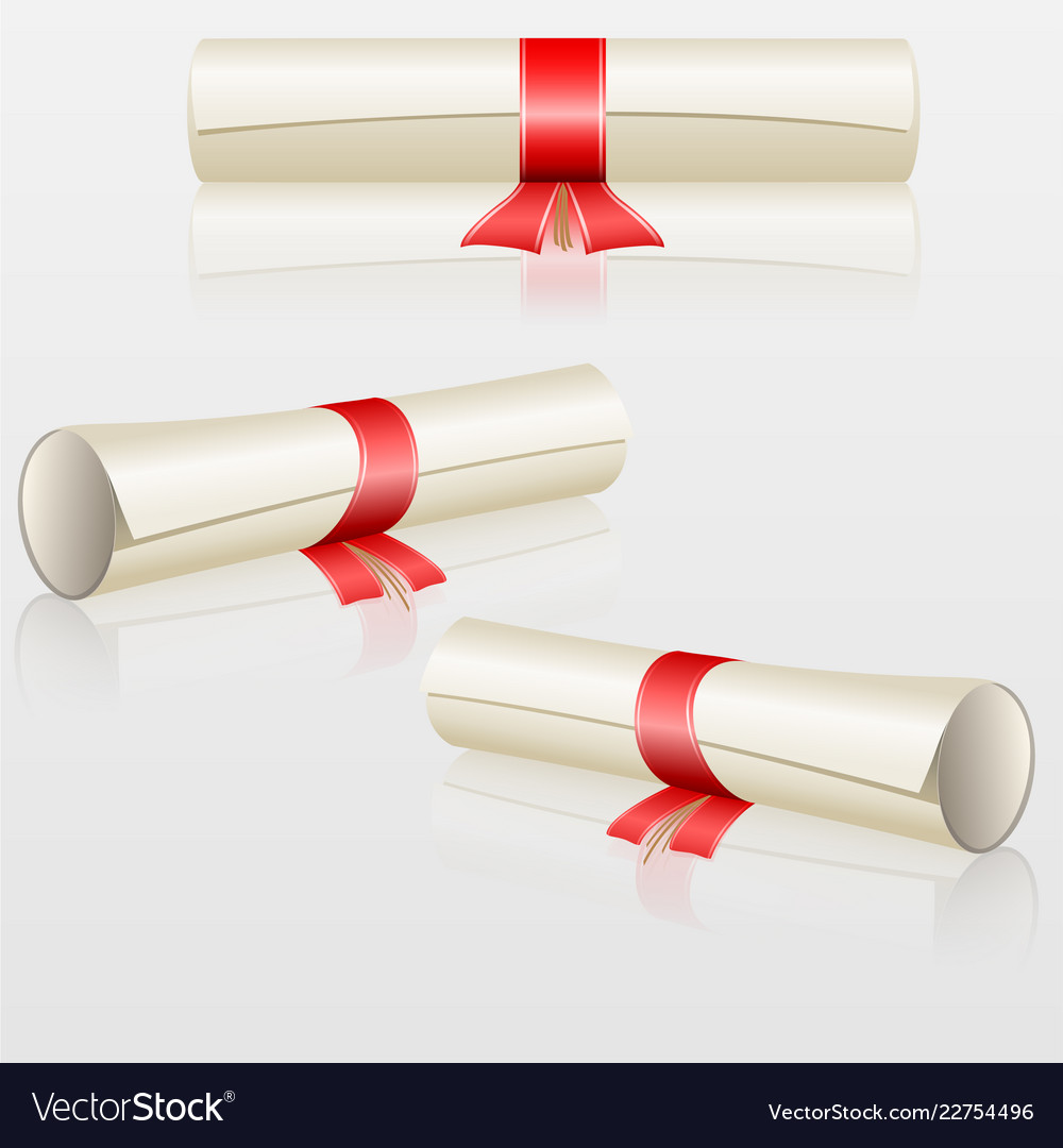 Set scrolls with red ribbon