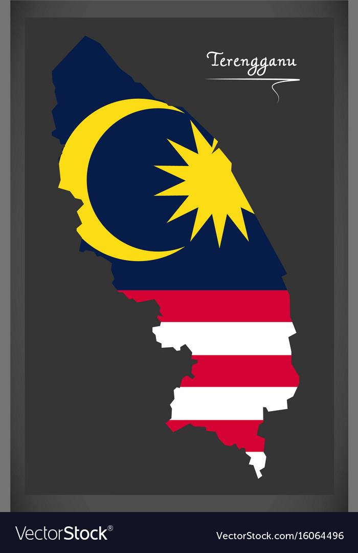Terengganu malaysia map with malaysian national vector image