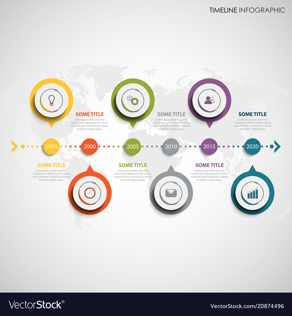 Time line info graphic with round color design