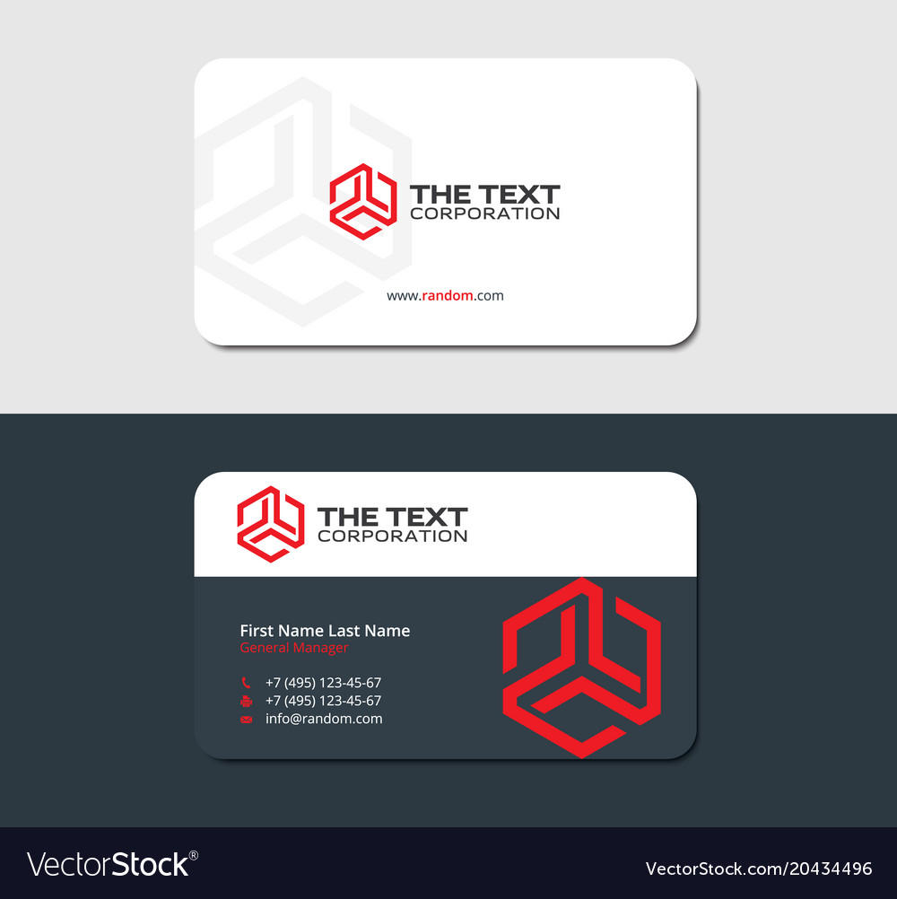 Two sided business card red hexagon Royalty Free Vector