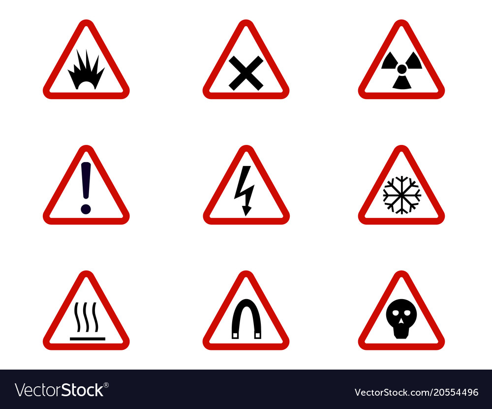 Warning And Hazard Symbols On Triangles Royalty Free Vector