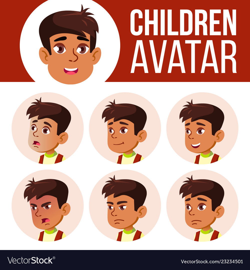 Arab muslim boy avatar set kid primary