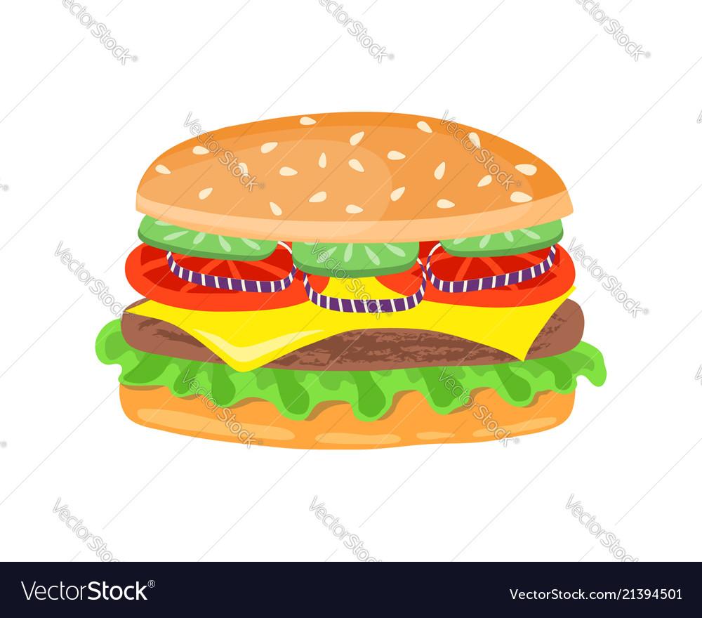Drawing of hamburger with cheese tomatoes chop