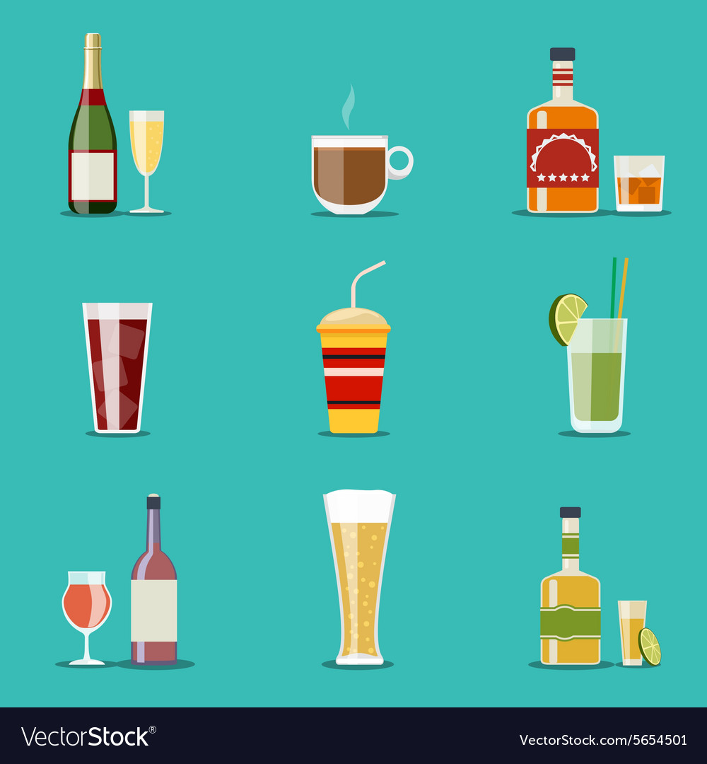 Drink flat icons Alcohol and beer wine bottles