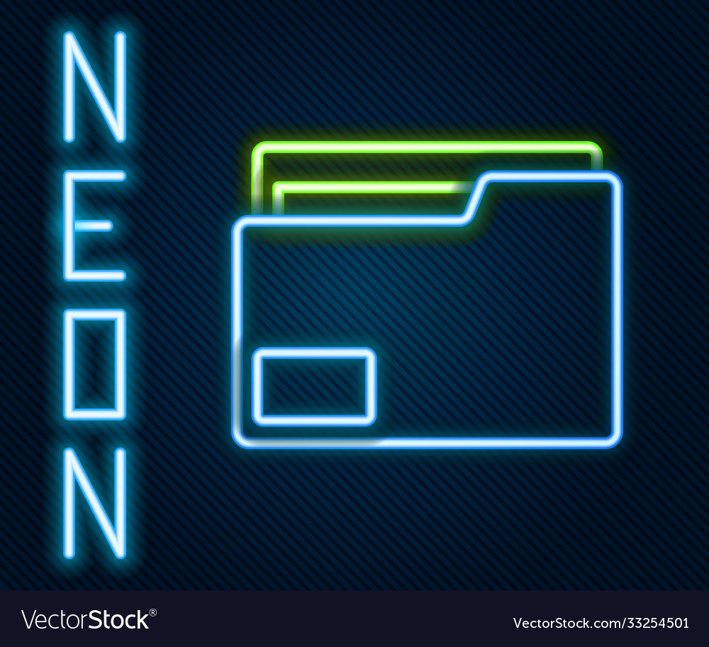 Glowing neon line document folder icon isolated on