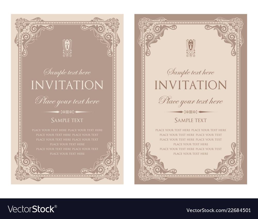 Invitation Card Template Design Vintage Style Vector Image