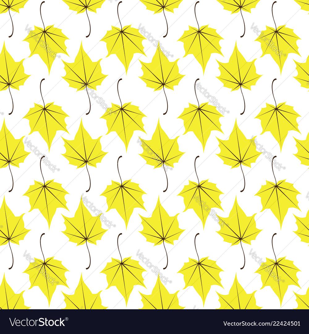 Maple leaves seamless white yellow art