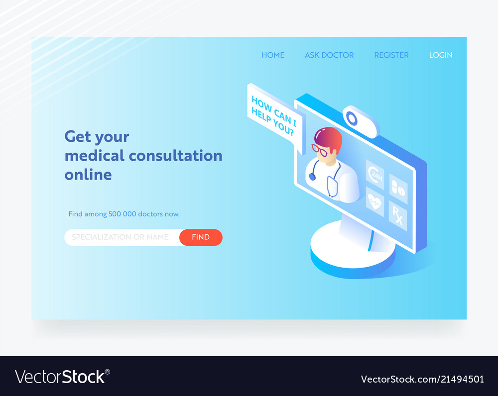Online medicine healthcare flat isometric design