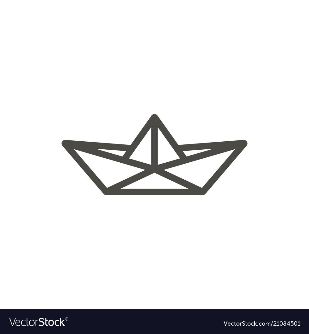 Paper boat icon line origamy symbol