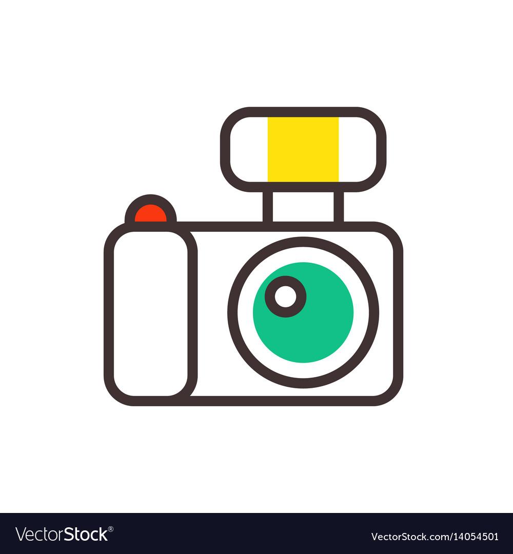 Photo camera reflection movie instrument on vector image