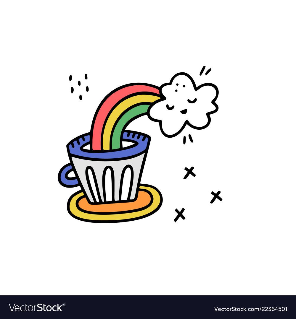 Rainbow coffee sticker